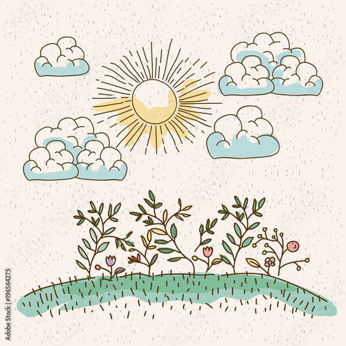 Deurstickers Wit watercolor landscape of plants in hill in sunny day vector illustration