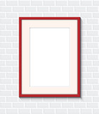 red frame on a brick wall - 196564437