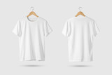 Fototapety Blank White T-Shirt Mock-up on wooden hanger, front and rear side view. 3D Rendering.