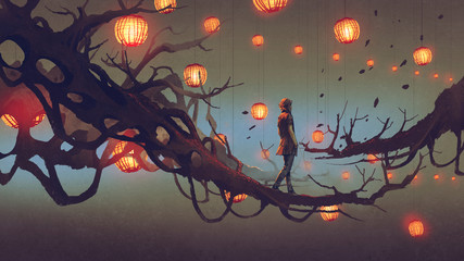 man walking on a tree branch with many red lanterns on background, digital art style, illustration painting © grandfailure