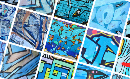 A set of many small fragments of graffiti drawings. Street art abstract background collage in blue colors - 196573817
