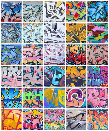 Zbiór wielu małych fragmentów rysunków graffiti. Uliczny sztuka abstrakta tła kolaż