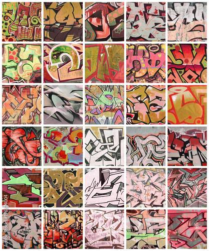 Zbiór wielu małych fragmentów rysunków graffiti. Uliczny sztuka abstrakta tła kolaż w czerwonych kolorach