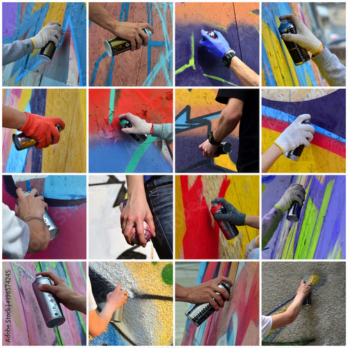 A set of many small images of hands with paint cans in the process of drawing graffiti Poster