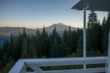 Mt Shasta from a cabin and pine trees in front - 196578494