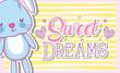 Sweet dreams card with cute bunny