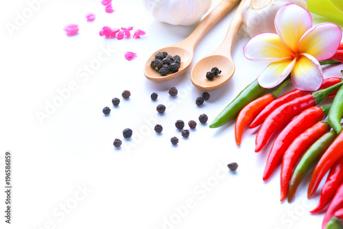 Aluminium Plumeria Asian ingredients food fresh spices Vegetable (tomato, chilli, garlic, pepper, plumeria) with space for text