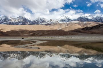 Snowy Mountains in Ladakh reflects in Pangong lake. India. Version 2.