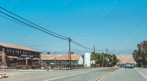 Aluminium Route 66 Highway in a village in California. American way of life