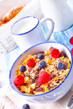 muesli breakfast menu with forest fruits - 196594499
