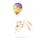 Easter bunny flies up with a painted balloon. - 196596816