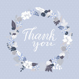 Thank You greeting card with floral wreath and lettering, floral frame on dark blue background