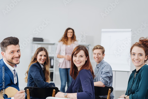 Group of motivated young businesspeople