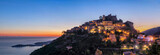 Panoramic view of medieval hilltop village Eze at dusk,  Alpes-Maritimes, France - 196601606