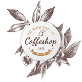 Coffeshop paper emblem - 196603224