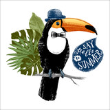 Card with hand drawn toucan hipster - 196603239