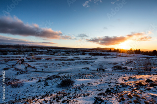 Fotobehang Nachtblauw Beautiful sunset in iceland
