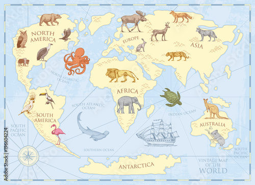 Fototapeta Vintage world map with wild animals and mountains. Sea creatures in the ocean. Old retro parchment. wildlife on earth concept. background or poster for kids. engraved hand drawn, mainland and island.