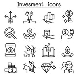 Money & Investment icon set in thin line style - 196605255