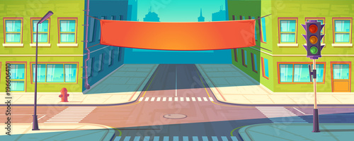 Vector street banner, poster. Urban advertising, promotion mockup. Template of placard between multistorey buildings, downtown in cartoon style. City marketing, tissue billboard.