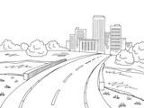 Road bridge graphic black white landscape city sketch illustration vector - 196607279