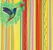 Leinwandbild Motiv Fliegender Kolibri an roter Blüte, Gemälde von Carola Vahldiek (Ausschnitt)