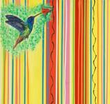 Fliegender Kolibri an roter Blüte, Gemälde von Carola Vahldiek (Ausschnitt)
