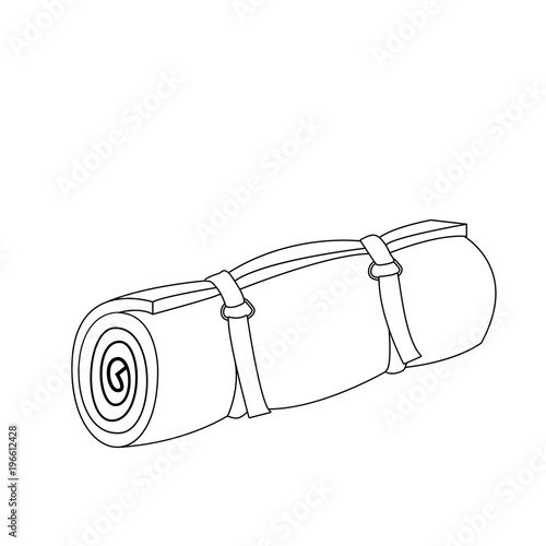 Camping roll mat outline coloring page
