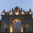 Illuminated Dolmabahce Palace in evening in Istanbul, Turkey
