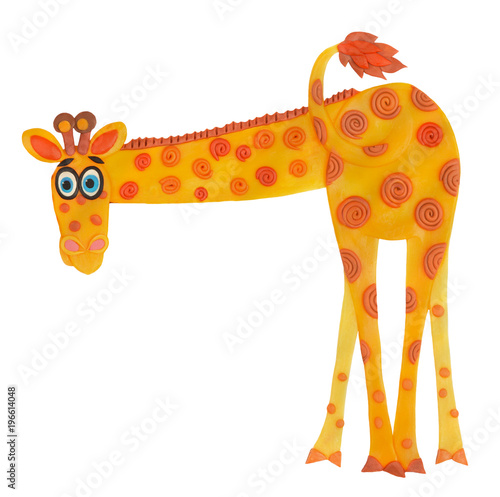 Wall mural plasticine giraffe who has turned the back