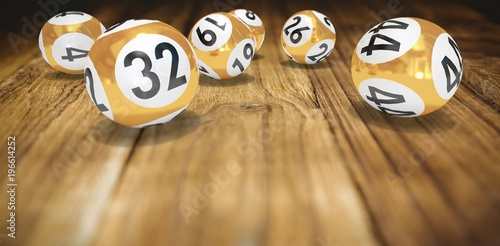 Deurstickers Bol Composite image of lottery balls with numbers