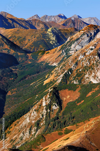 Poland, Tatra Mountains, Zakopane - Stoly peak, Tomanowa Pass, Tomanowa Liptowska and Cicha Valleys with Western Tatra mountain range panorama in background