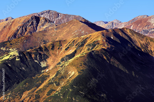 Poland, Tatra Mountains, Zakopane - Czerwone Wierchy and Tomanowy Wierch peaks, Jaworowa Liptowska Valley with Western Tatra mountain range panorama in background
