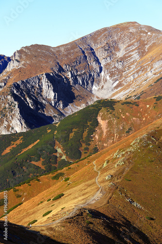 Poland, Tatra Mountains, Zakopane - Czerwone Wierchy, Krzesanica, Rozpadla Gran peaks and Rozpadla Valley with Western Tatra mountain range panorama in background
