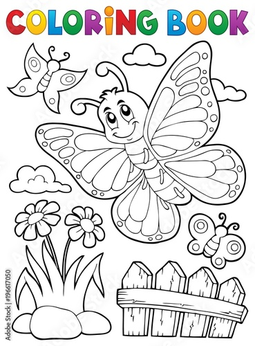 Fotobehang Voor kinderen Coloring book happy butterfly topic 5