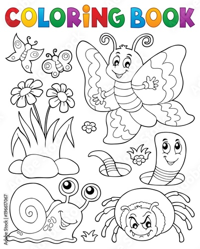 Fotobehang Voor kinderen Coloring book with small animals 4