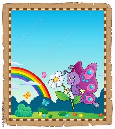 Fotobehang Voor kinderen Parchment with happy butterfly theme 2