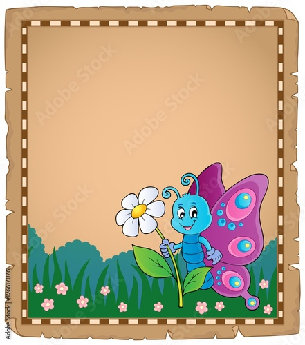 Fotobehang Voor kinderen Parchment with happy butterfly theme 3
