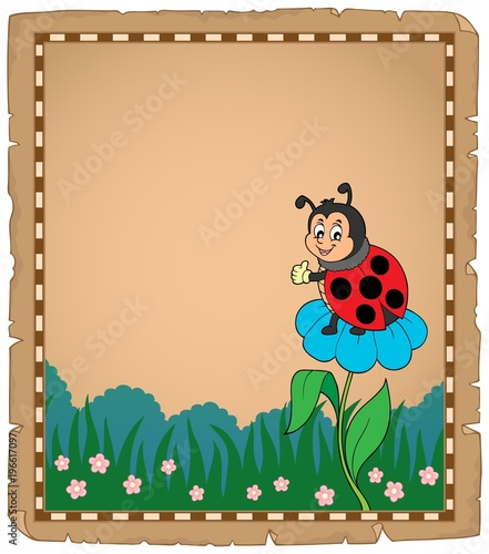 Fotobehang Voor kinderen Parchment with ladybug on flower