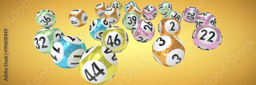 Composite image of lottery balls with nimbers