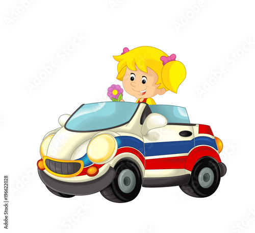 cartoon scene with happy child - girl in toy ambulance car on white background - illustration for children - 196622028