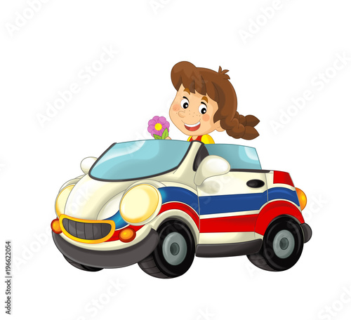 cartoon scene with happy child - girl in toy ambulance car on white background - illustration for children - 196622054