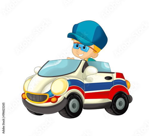 cartoon scene with child - boy in toy car ambulance on white background - illustration for children - 196623265