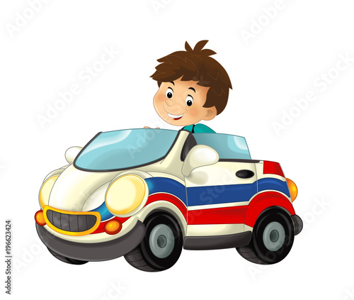 cartoon scene with child - boy in toy car ambulance on white background - illustration for children - 196623424