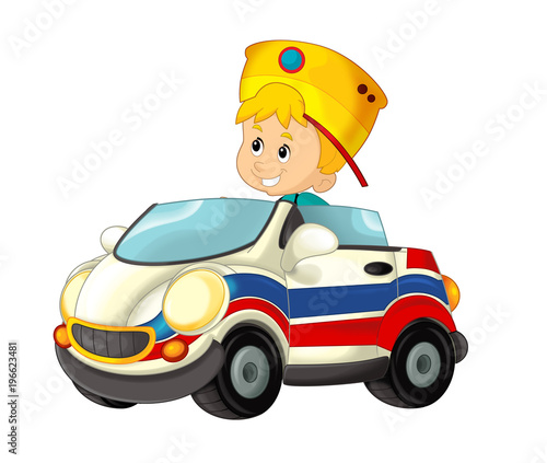 cartoon scene with child - boy in toy car ambulance on white background - illustration for children - 196623481
