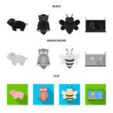 An unrealistic black, flat, monochrome animal icons in set collection for design. Toy animals vector symbol stock web illustration. - 196623864