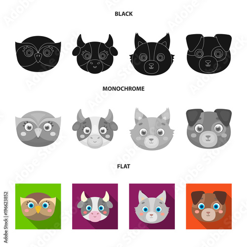 Tuinposter Uilen cartoon Owl, cow, wolf, dog. Animal's muzzle set collection icons in black, flat, monochrome style vector symbol stock illustration web.
