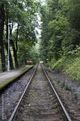 Foto op Canvas Spoorlijn Railway station