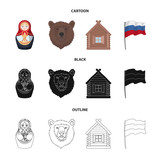 Russia, country, nation, matryoshka .Russia country set collection icons in cartoon,black,outline style vector symbol stock illustration web. - 196627602
