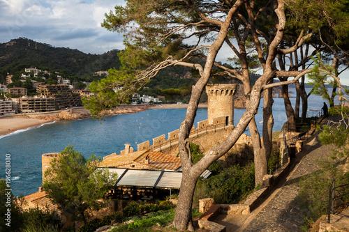 Coastal Town of Tossa de Mar at Mediterranean Sea